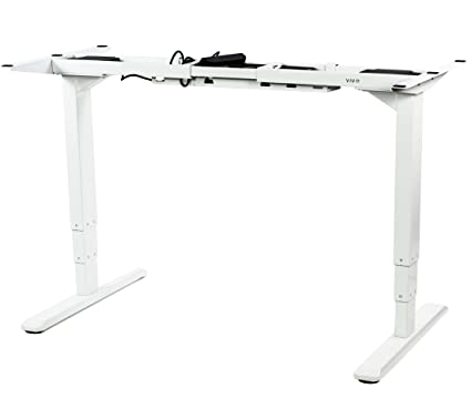 VIVO White Electric Stand Up Desk Frame w/Dual Motor and Cable Management  Rack, Ergonomic Height Adjustable Standing DIY Workstation (DESK-V103EW)