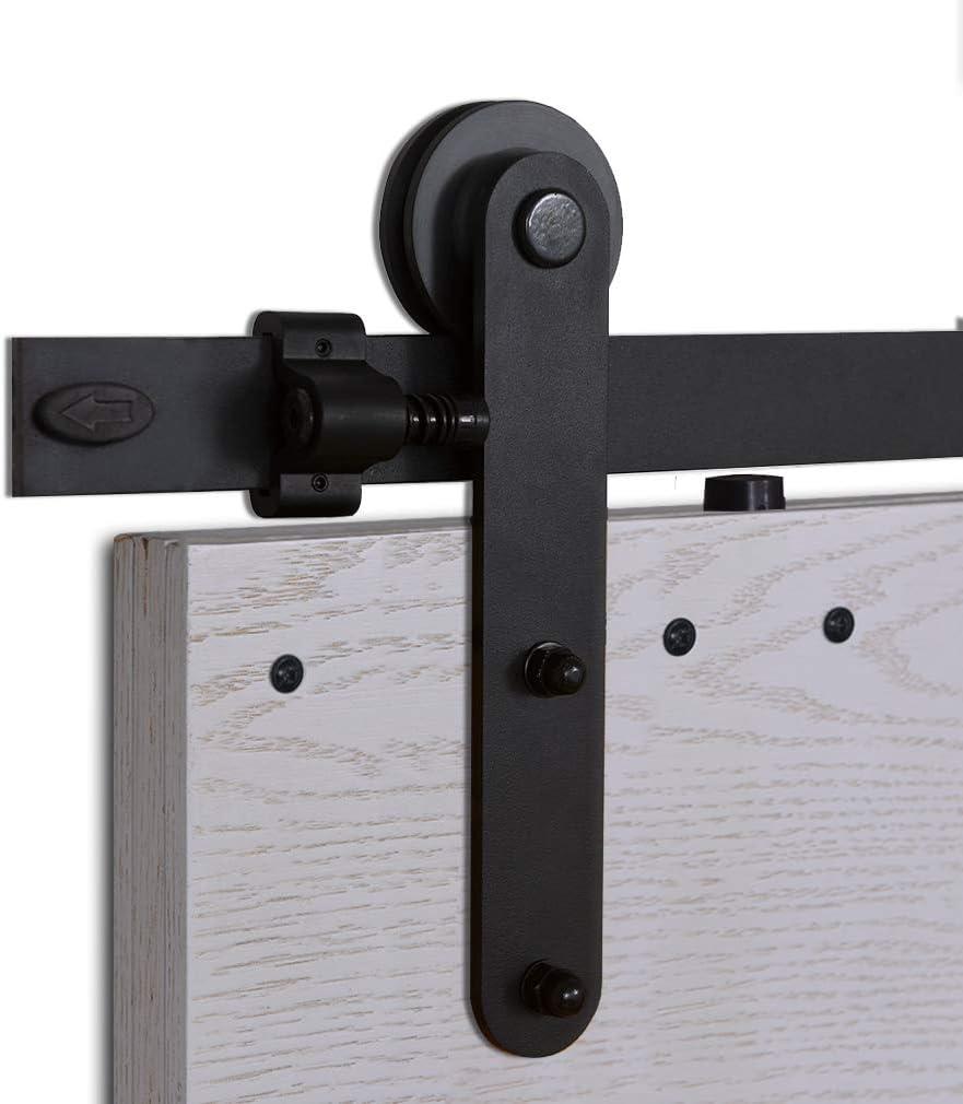 CCJH 5FT-153cm Herraje para Puerta Corredera Kit de Accesorios para Puertas Correderas Rueda Riel Juego para Una Puerta de Madera