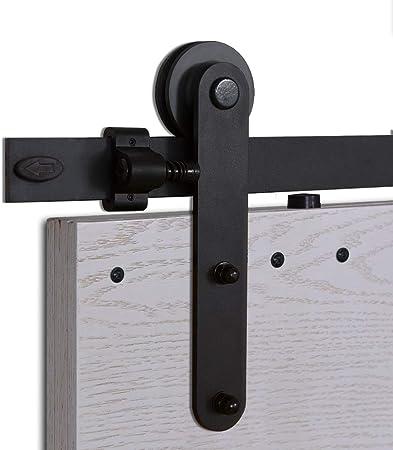 CCJH 6FT-183cm Acier Inoxydable Quincaillerie Kit de Rail Roulette pour Porte Coulissante Ensemble Industriel Hardware kit pour Une Porte Suspendue en Bois