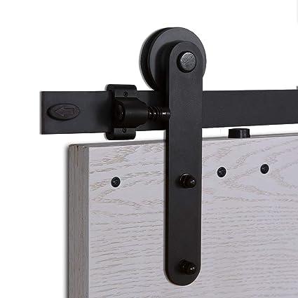 CCJH 6FT-183cm Retro Corredizo de Madera Granero Puerta Hardware Kit Armario Corredizo de la Riel Colgadores de Rueda para una sola Puerta Round Shaped: ...