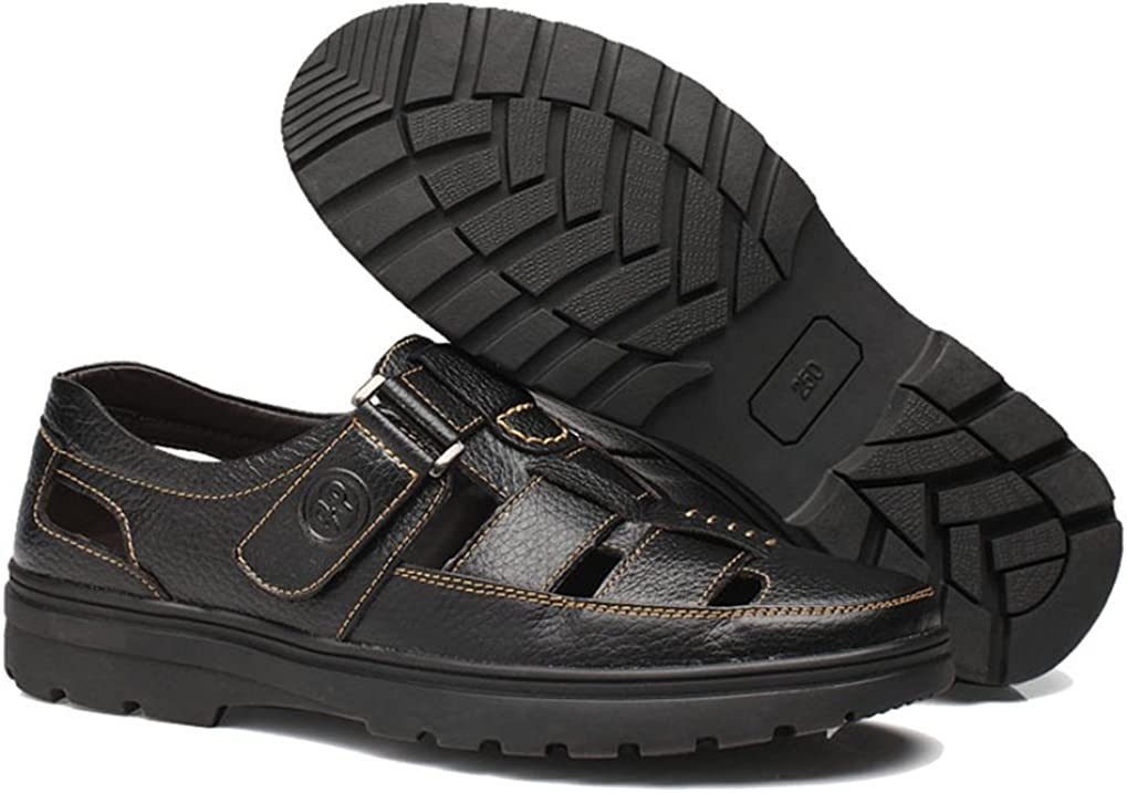 Femaroly Summer Mens Sandals Leather Casual Hole Shoes Breathable Dad Shoes