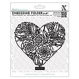 Xcut 6 x 6'' Scrapbook Craft Embossing Folder - Floral Heart (152x152mm)