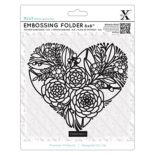 Xcut 6 x 6'' Scrapbook Craft Embossing Folder - Floral Heart (152x152mm) by Xcut