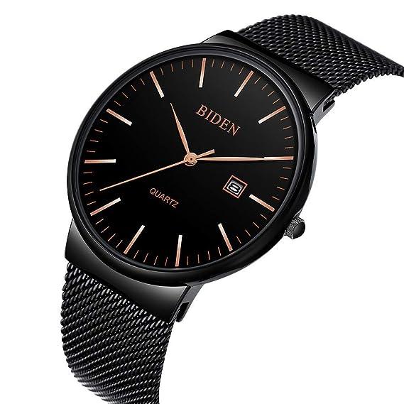 Reloj, reloj casual clásico de acero inoxidable para hombre con banda de malla milanesa,