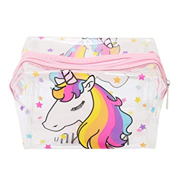 0be8df3e50 Image Unavailable. Image not available for. Colour  WHBLLC Unicorn Printed  Transparent Waterproof Makeup Bag Travel Cosmetic Pouch Coin Purse Pencil  ...