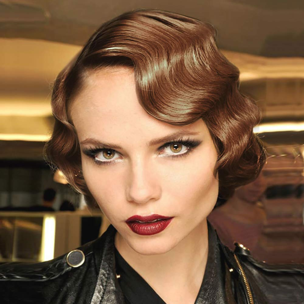 STfantasy Finger Wave Wigs 1920s Flapper Ombre Brown Hair Women