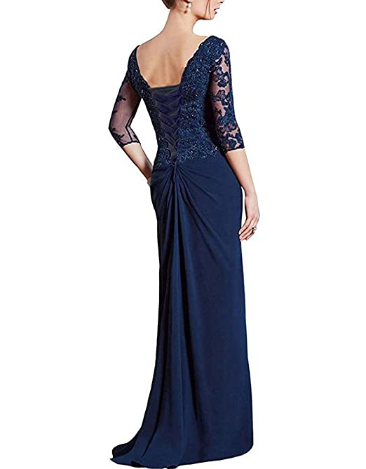 menoqo Mother Of The Bride Dress Plus Size V-Neck 3/4 Sleeves Long Lace Prom Dress Formal Gown Floor Length Mermaid Back Lace Up at Amazon Womens Clothing ...
