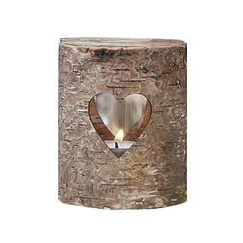 Amazon De Rustikales Windlicht Aus Holz Mit Herz Ausschnitt Fur