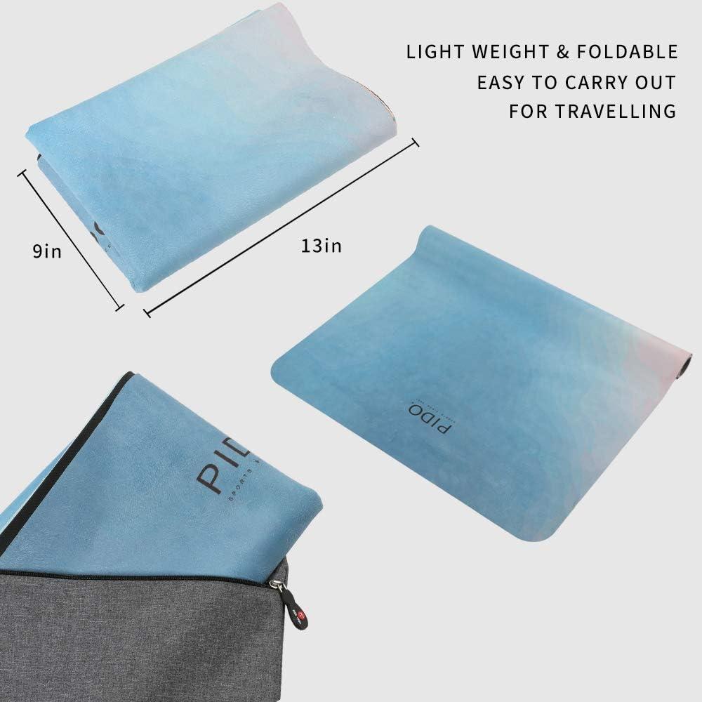 PIDO Tapis de yoga de voyage imprim/é en caoutchouc daim /écologique l/éger Tapis de yoga de voyage antid/érapant livr/é avec sac de transport