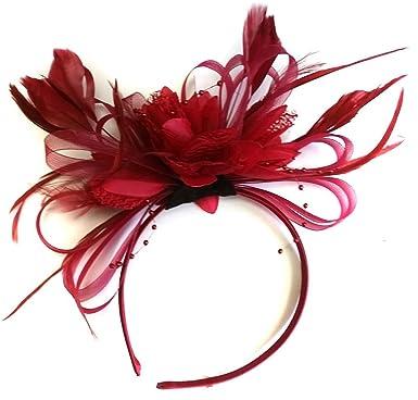 Burgundy Fascinator on Headband Dark Wine Red Hair Wedding Ascot ... ed45acd7472