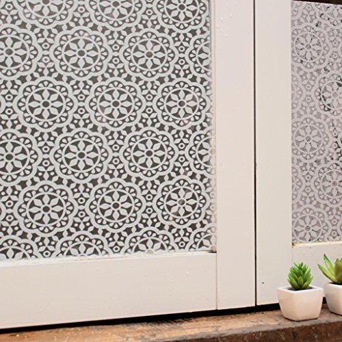 Vakker Bahay Plastic Self Adhesive Frosted Window Film Home Office White Floral Decorative Stained Privacy Window Covering Film,35.5 x 78.7 Inches(90CM by 200CM)