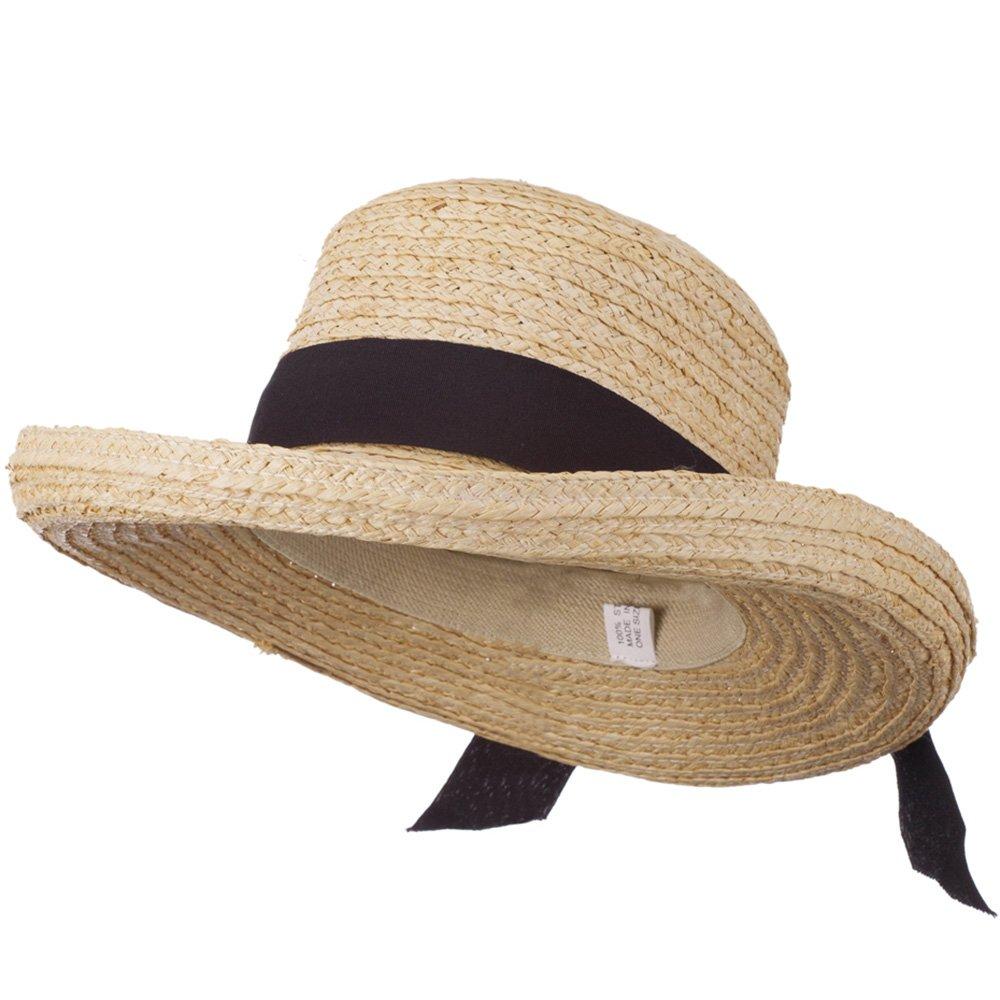 Crushable Raffia Hat with Fine Paper Straw Braid - Tan Black OSFM