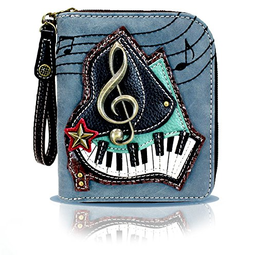 Chala Zip Around Wallet, Wristlet with 8 Credit Card Slots, PU Leather - Piano Keys - Indigo