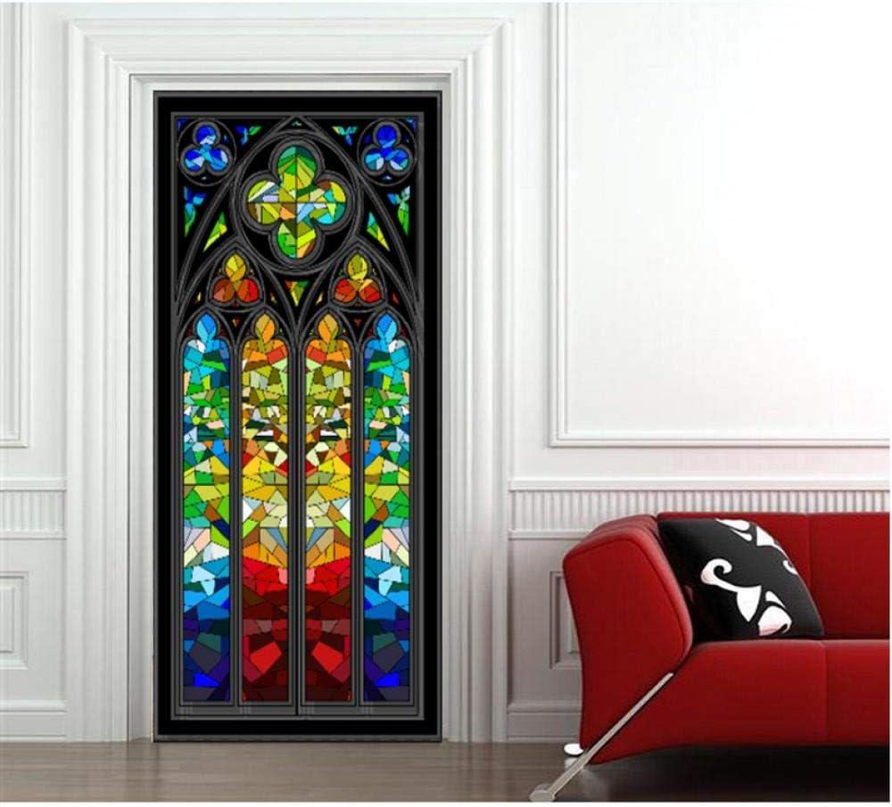 Arco de vidrieras 3D mural etiqueta de la pared etiqueta de la puerta papel tapiz decoración del hogar PVC autoadhesivo impermeable protección del medio ambiente seguridad