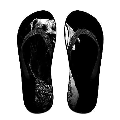 Couple Flip Flops Bulldog Print Chic Sandals Slipper Rubber Non-Slip House Thong Slippers