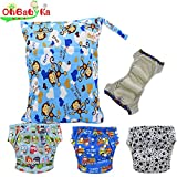 Baby Waterproof Reuseable Training Nappy Diapers 3pcs, A Wet and Dry Bag by Ohbabyka