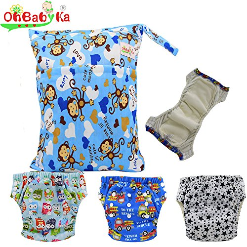 Baby Waterproof Reuseable Training Nappy Diapers 3pcs, A Wet and Dry Bag by Ohbabyka by OHBABYKA