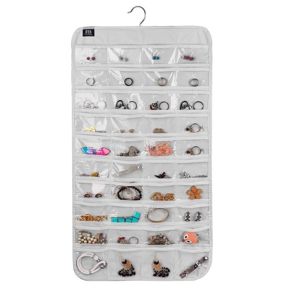 Brotrade Hanging Jewelry Organizer, 80 Pocket Organizer For Holding Jewelries(Beige) SYNCHKG101536