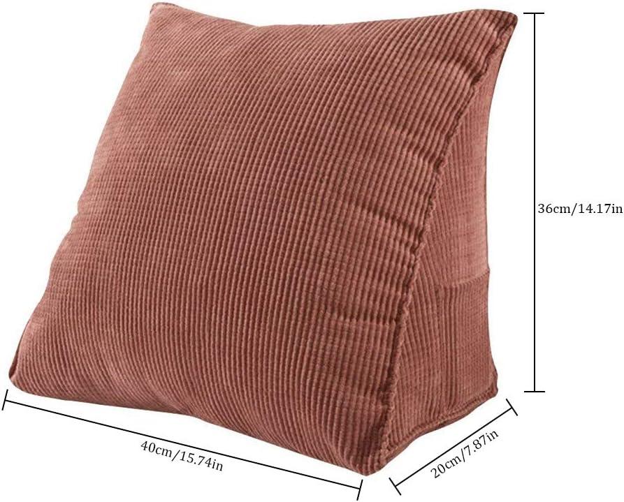 Support dorsal Coussin triangle de soutien dorsal Coussin dorsal de dossier Dossier support dorsal pour canap/é-lit Lit Dossier de lecture Chaise de bureau Reste 40 14.17 36 20 cm//15.75 7.87in