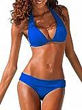 Ybenlover Damen Halter Push Up Bikini Set Neckholder Bandeau Sexy Badeanzug