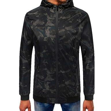 112f6ee471be Longra Herren Übergangsjacke Herrenjacke Jacke mit Kapuze Zip Koodie  Kapuzenpullover Sweatjacke Jacke Herren Camouflage Windbreaker Camo