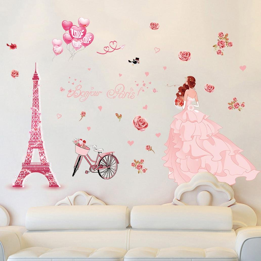 Iuhan Bonjour Paris wall sticker lovely sweet girl with rose mural Decor Bedroom Home sticker Wall by Iuhan (Image #2)
