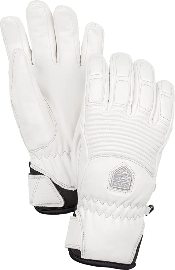Hestra Womens Ski Gloves: Fall Line Leather Cold Weather Winter Gloves, Off White/Off White, 7