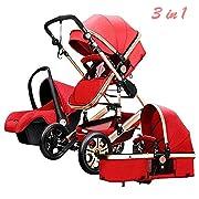 Lightweight Stroller Folding Jogger Travel System Bassinet Pushchair Waterproof 3 in 1 Baby Cart,Prams for Newborns (Red)