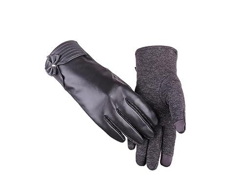 Autunno e inverno nuove donne caldo PU guanti in pelle versione AB dei guanti luminosi a sfioramento touch screen guanti guanti da equitazione esterni