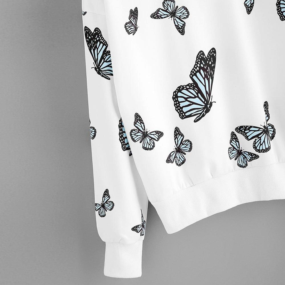 Solike Damen Pullover Schmetterling Muster Pulli Hoodie Tops