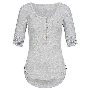 7e62937d72748 MERICAL Damen Damen Solide Langarm Knopf Bluse Pullover Tops Shirt Mit  Taschen(EU:36