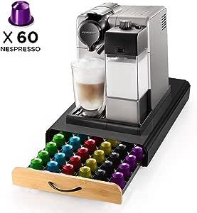 ecooe Soporte para cápsulas de café Rack de cápsulas de Acero Inoxidable para 60 Nespresso Dispensador de cápsulas con cajón de Rejilla de Superficie Antideslizante: Amazon.es: Hogar