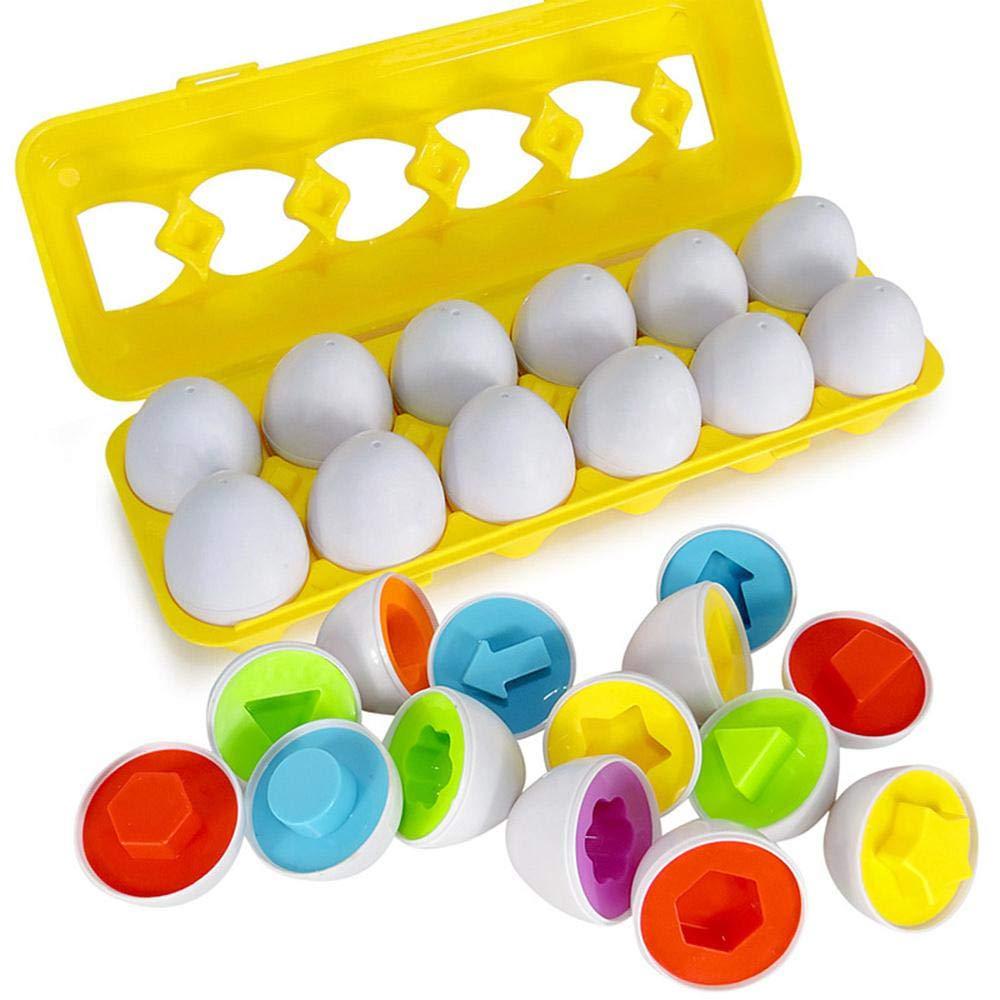 12 Pièces Oeufs Puzzle Jouets Educatifs Géométriques, Correspondance de Couleur et Forme Montessori Apprentissage Puzzle Jouet Pour les Tout-petits Préscolaires Garçons Filles