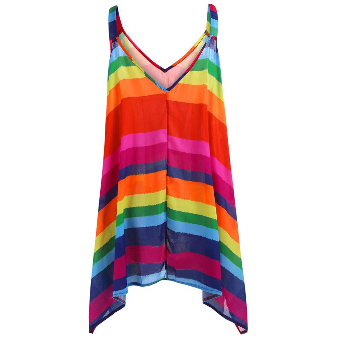 Womens Ladies Stripey Colourful Vest Top