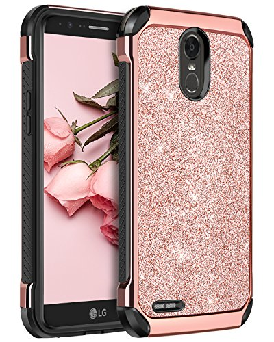 LG Stylo 3 Case, LG Stylo 3 Plus Case, LG Stylus 3 Case, BENTOBEN Glitter 2 in 1 Hybrid Hard PC Laminated with PU Leather Shockproof Protective Case for LG Stylo 3/Stylo 3 Plus/LG LS777, Rose Gold