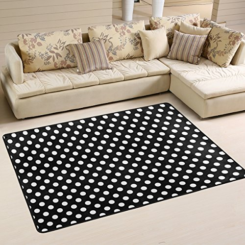 ALAZA Classic Black White Polka Dot Area Rug Rugs Mat for Living Room Bedroom 6'x4' ()