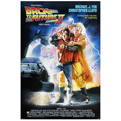 Lea Poster - Michael J. Fox, Christopher Lloyd, Thomas Wilson, Lea Thompson and Bob Gale Autographed 27×40 Back to the Future Part II Poster