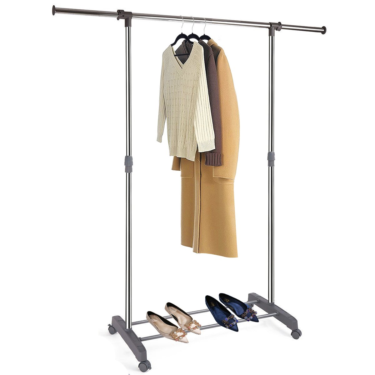 MIZGI Premium Clothes Drying Rack, 2 Tier Clothes Rack, Portable Clothes Racks for Drying Clothes, Foldable Clothes Drying Rack, Laundry Rack Drying, Rolling Clothes Rack, Outdoor Indoor (Double Rod)