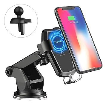 SONRU Cargador Coche Inalámbrico,Carga Rápida y Soporte Móvi Aplicable a Rejillas del Aire para iPhone 8/8+/X/XS/XR, Samsung s9/s9 +/s8/s8 +/S7/S6 ...