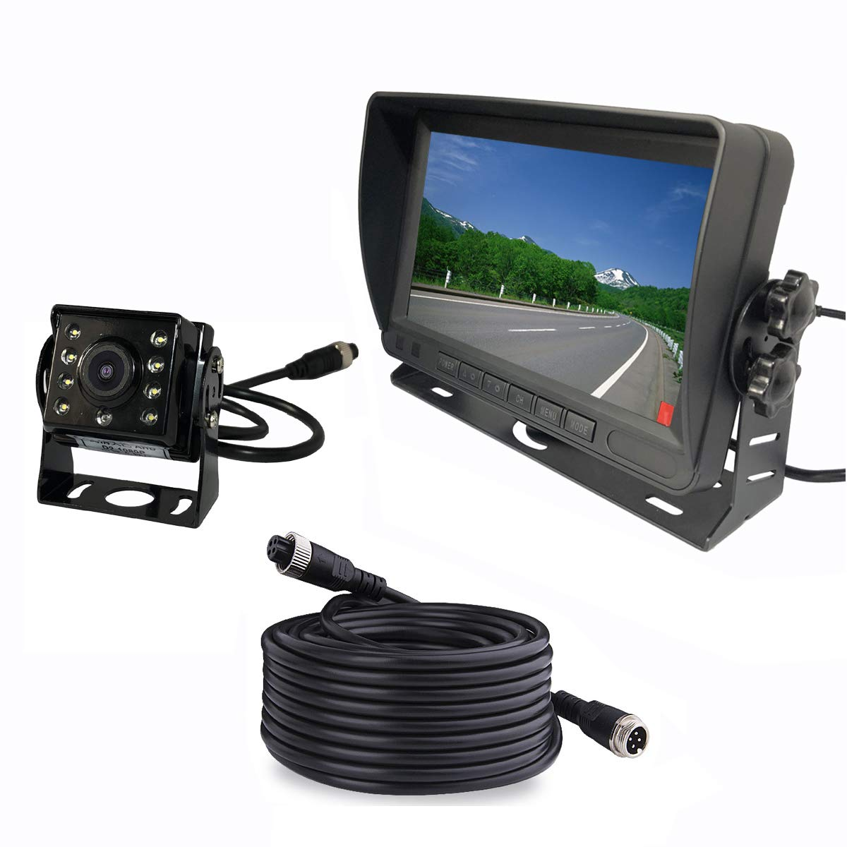 Upgraded Vehicle Backup Rear View Car Truck Camera and Monitor System,IP69 Waterproof Night Vision HD1080P Rear Camera 7 IPS Monitor 12V-24V with 4 Pin 15m Cable for Bus Trailer RV Camper