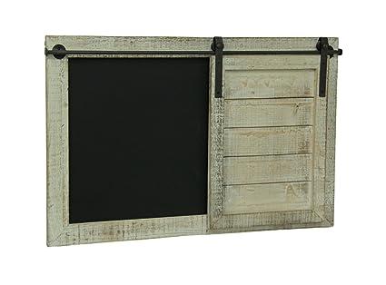 Wood U0026 Metal Chalkboards Whitewashed Finish Barn Door Chalkboard Message  Board 28 X 18.25 X 1.5