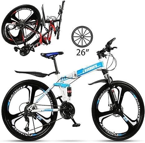 LXDDP Bicicleta montaña 26 Pulgadas con suspensión Completa para Adultos, Bicicleta Plegable Antideslizante 21/24/27 velocidades, Bicicletas Doble Freno Disco, Rueda magnesio: Amazon.es: Deportes y aire libre