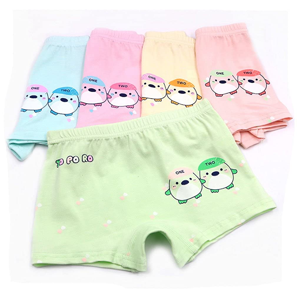2-7 Years Old Girls Organic Cotton Underwear Cartoon Duck Boyshort Panties 5 Pairs YUMILY CAETNK1801013-1