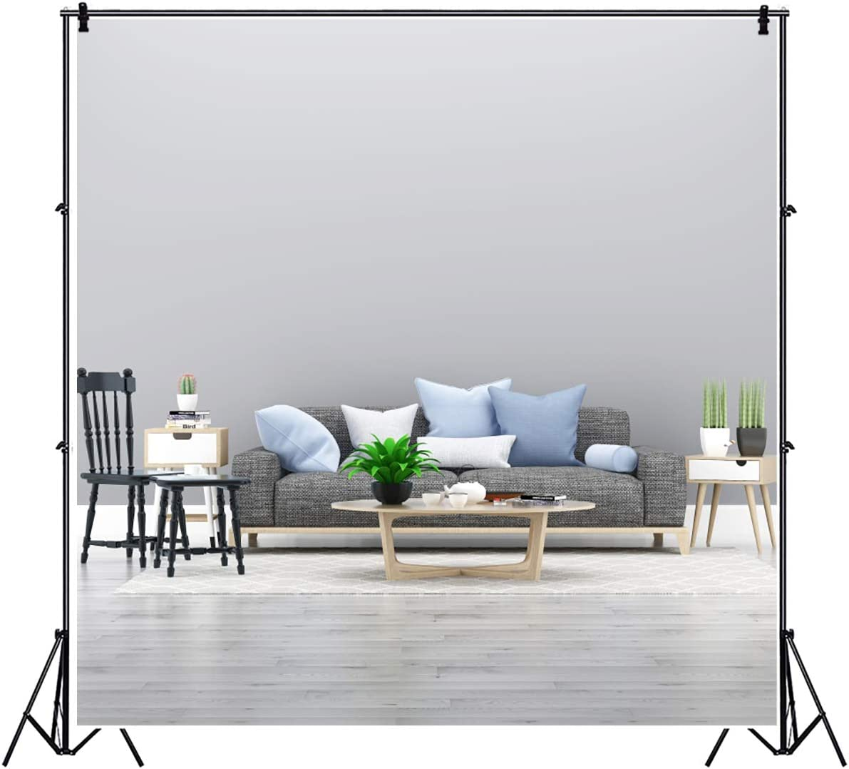 YEELE Bright Living Room Photography Backdrop 9x9ft Wooden Chair Sofa Tea Table Background Modern House and Home Design Interior Apartment Kids Adult Portrait Photo Studio Props