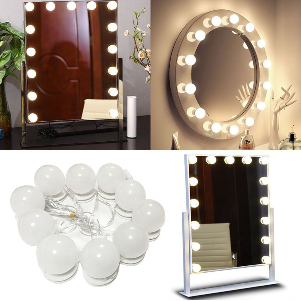 LED Vanity Mirror Kit of Lights with Dimmable Bulbs Mirror LED Makeup Mirror Luminous Makeup Handheld Mirror Cosmetic Dressing Bulb Kit with 10 Cosmetic Dressing Bulb (Mirror Not Include) (white)