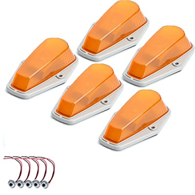 5pcs Amber Lens Cab Roof Marker Lights, KOMAS Roof Top Lamp Running Light Replacement + T10 Set for Truck SUV 1980-1997 Ford F1-150 F-250 F-350 F-450 F-550 Super Duty (Amber Cover + Base): Automotive