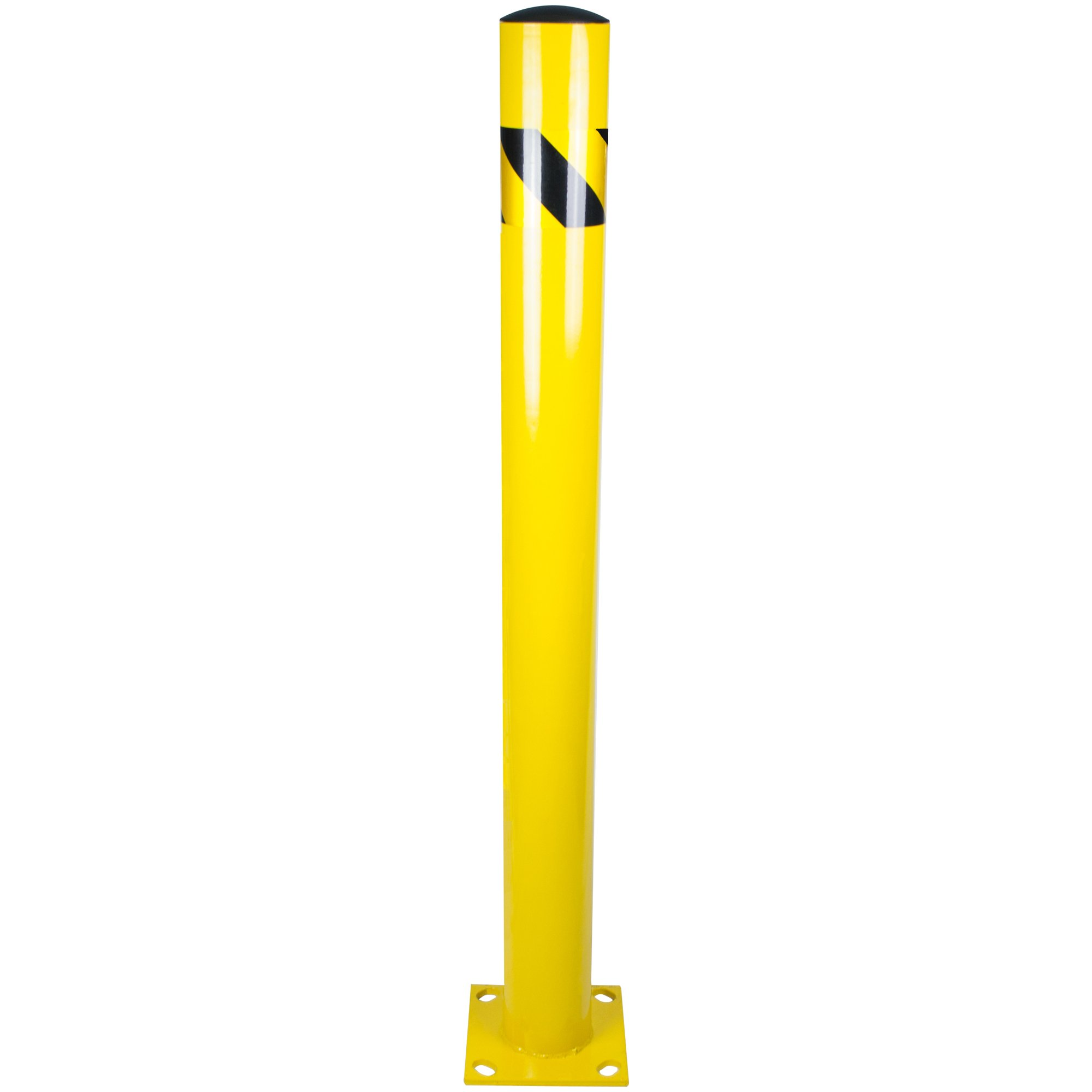Bollard Post - Steel Safety Barrier Protection- Yellow Powder Coat 4.5'' Diameter 48'' Tall BW4548