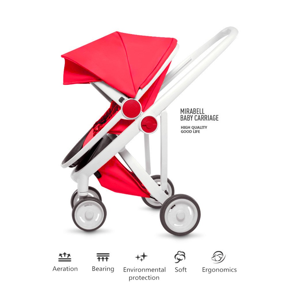 Ultra Lightweight Stroller Pushchair Folding Portable Children's Baby Summer Sunshade Cover Pram kids four-wheeled Cart Carrycot Buggy (Red)