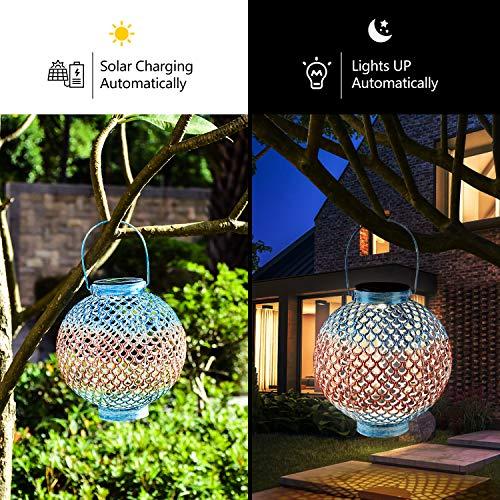 Solar Lanterns Outdoor Hanging Solar Lights with Handle Retro Waterproof Solar Garden Lantern Decor for Yard Tree Fence Patio, Blue and Brown