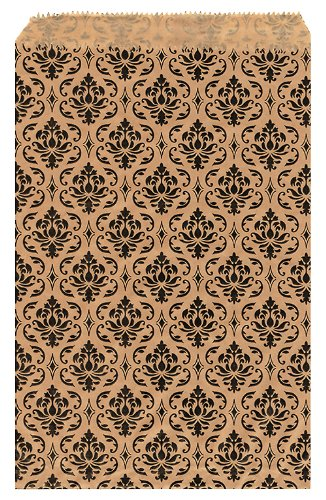 200 pcs Damask Paper Gift Bags Shopping  - Brown Damask Gift Shopping Results
